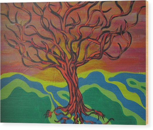 Burning Tree Wood Print by Rebecca Jankowitz