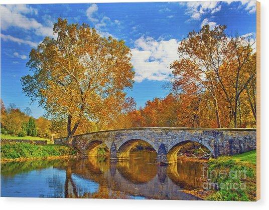 Burnside Bridge At Antietam Wood Print