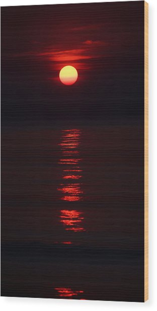 Burnt Orange Sunrise Wood Print
