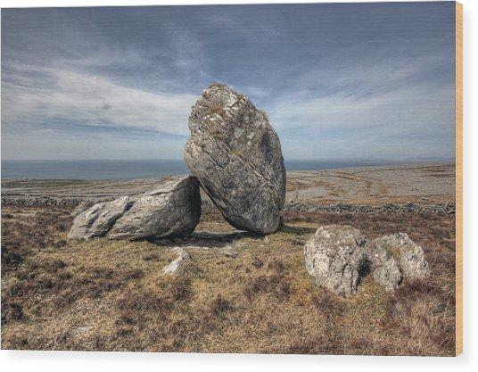 Burren Boulders Wood Print by John Quinn