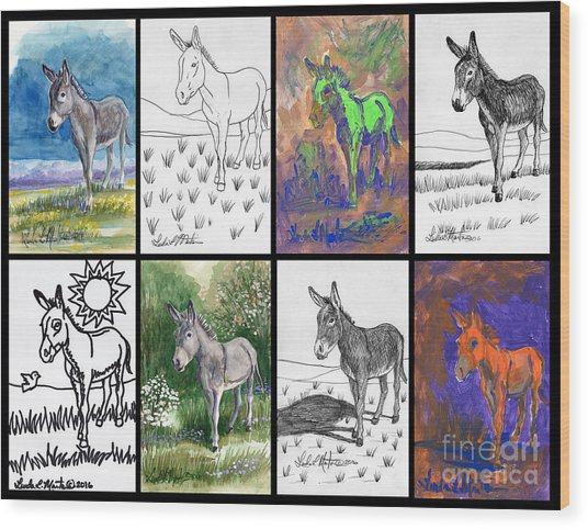 Burro Sampler #1 Wood Print