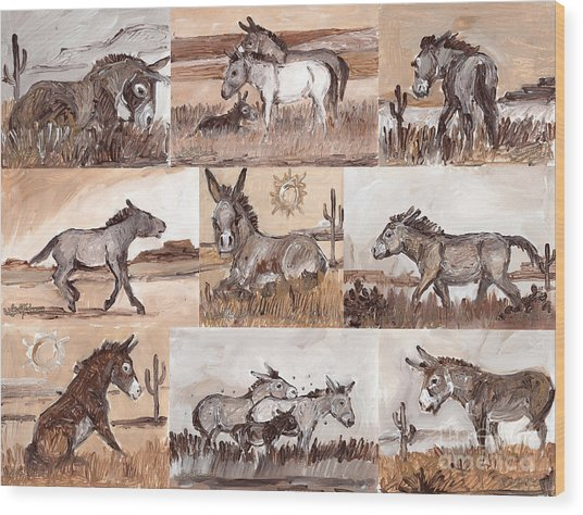 Burros Of The South West Sampler Wood Print