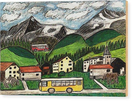 Bus Travel Wood Print by Monica Engeler