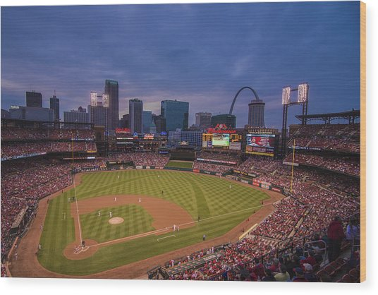 Busch Stadium St. Louis Cardinals Ball Park Village Twilight #3c Wood Print