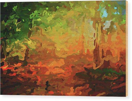 Bush Fire Wood Print