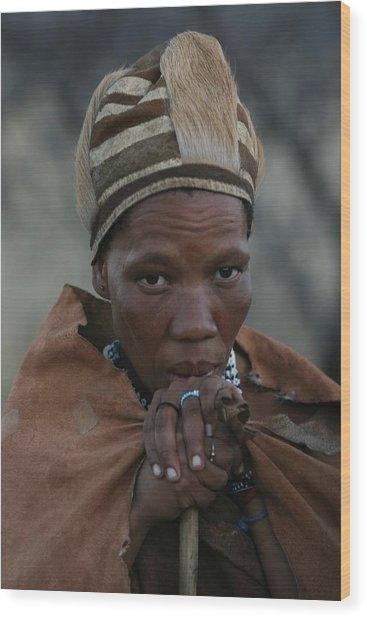 Bushmen Woman Wood Print by Miranda  Miranda
