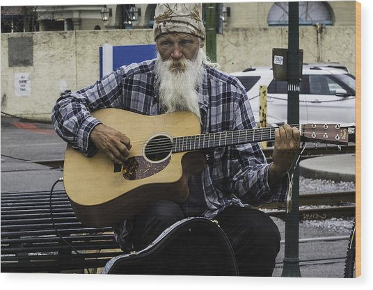 Busking In New Orleans, Louisiana Wood Print