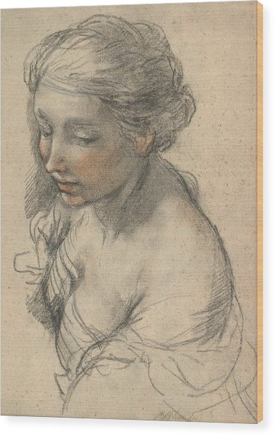 Bust Of A Young Woman Turned To The Left Wood Print
