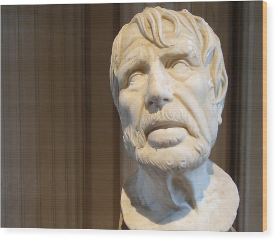 Bust Of An Old Man Wood Print by Edan Chapman