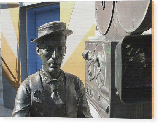 Buster Keaton On Camera Wood Print