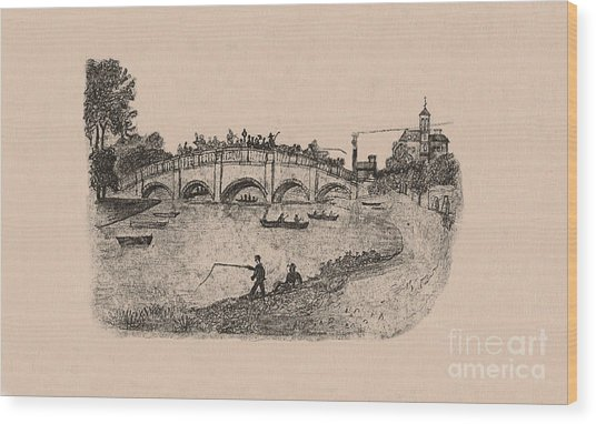 Busy Richmond Bridge And Fishermen Wood Print