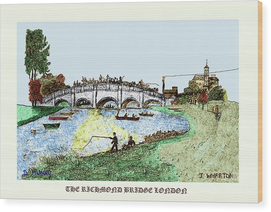 Busy Richmond Bridge Wood Print