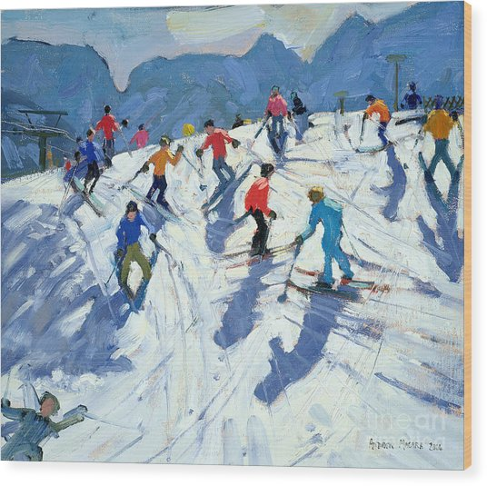 Busy Ski Slope Wood Print