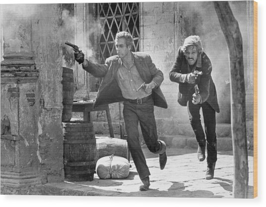 Butch Cassidy And The Sundance Kid - Newman And Redford Wood Print
