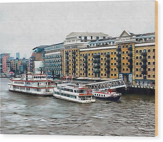 Butler's Wharf Area London Wood Print by Dorothy Berry-Lound