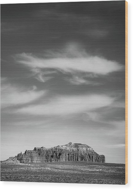 Butte With Clouds Wood Print by Joseph Smith
