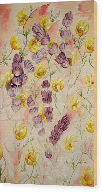 Buttercups And Lavendar Wood Print
