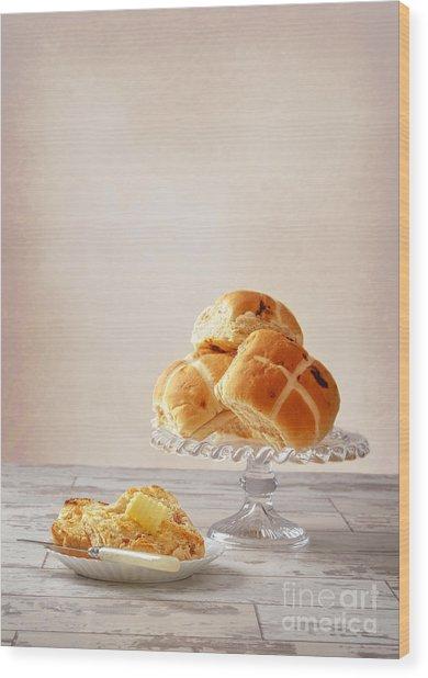 Buttered Hot Cross Bun Wood Print