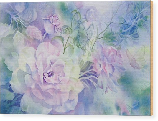 Butterflies-and-roses Wood Print by Nancy Newman