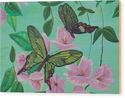 Butterflies In Flight Wood Print by Martha Mullins