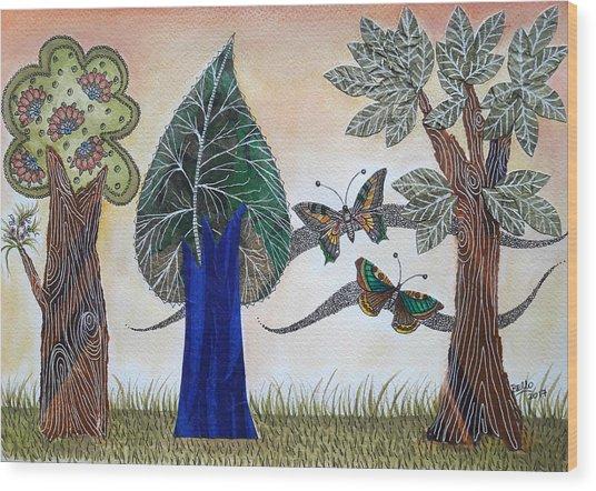 Butterflies In Love Wood Print