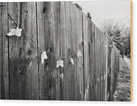 Butterflies On A Rustic Fence Wood Print
