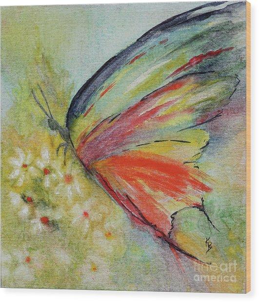Wood Print featuring the painting Butterfly 3 by Karen Fleschler