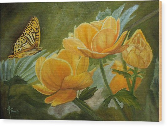 Butterfly Among Yellow Flowers Wood Print