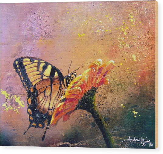 Wood Print featuring the painting Butterfly by Andrew King