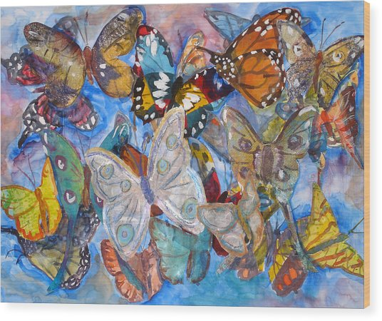 Butterfly Collage Wood Print by Joyce Kanyuk