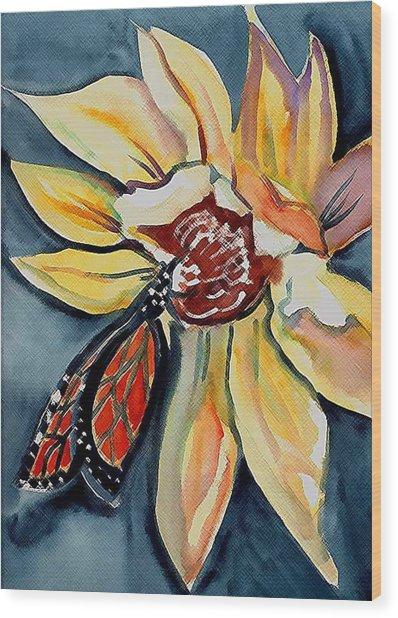 Butterfly -cross Hatch Wood Print by Janet Doggett