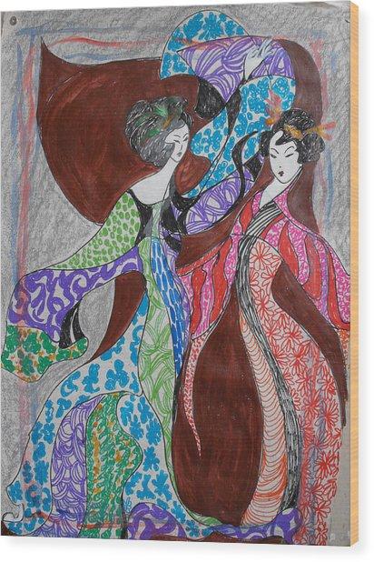 Butterfly Dance Wood Print by Helene  Champaloux-Saraswati