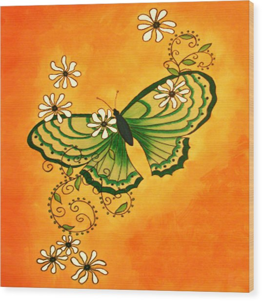 Butterfly Doodle Wood Print by Karen R Scoville