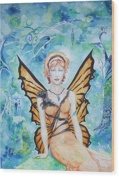 Butterfly Fairy Wood Print by Jennifer Bonset