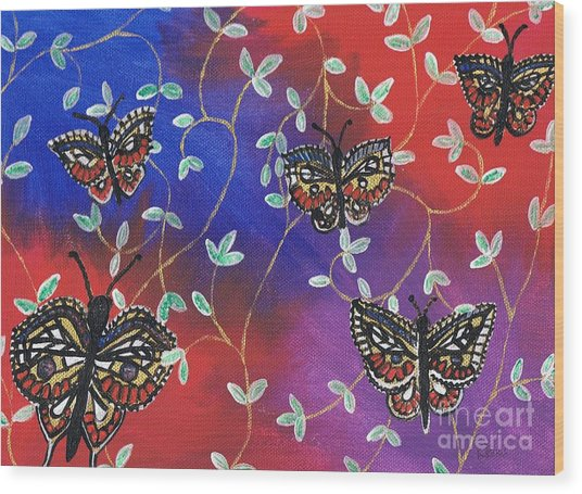 Butterfly Family Tree Wood Print