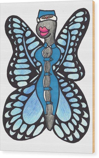 Butterfly Flight Attendant Wood Print