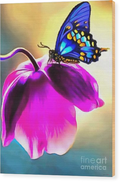 Butterfly Floral Wood Print