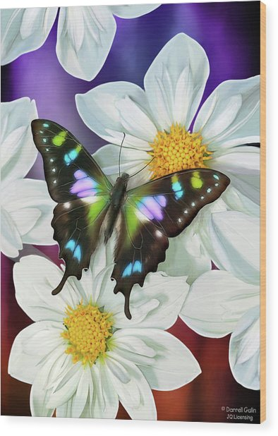 Butterfly Flowers Wood Print