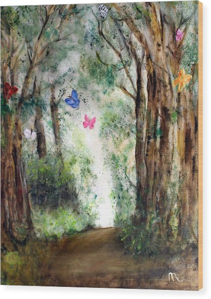 Butterfly Forest Wood Print by Michela Akers