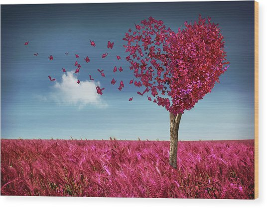 Butterfly Heart Tree Wood Print