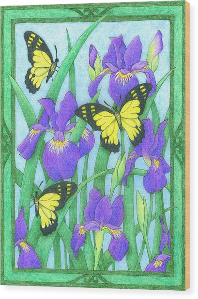 Butterfly Idyll-irises Wood Print