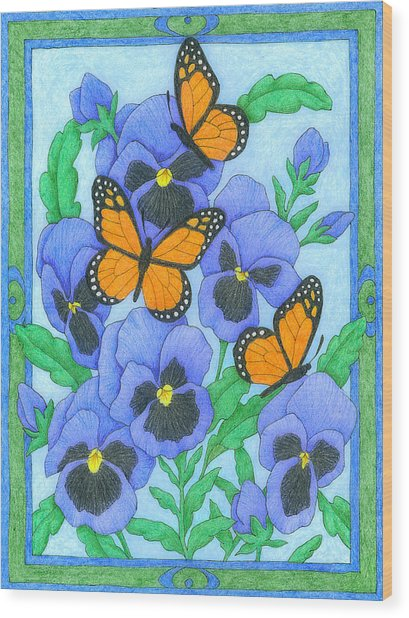 Butterfly Idyll-pansies Wood Print