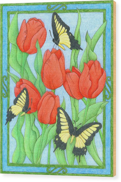 Butterfly Idyll-tulips Wood Print