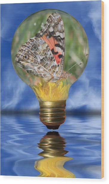 Butterfly In Lightbulb Wood Print