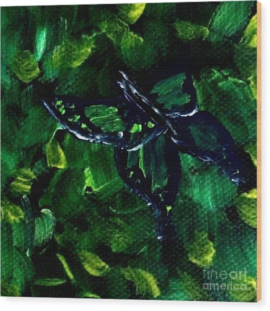 Wood Print featuring the painting Butterfly In The Bush by Janelle Dey