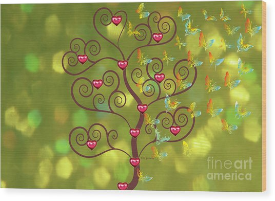 Butterfly Of Heart Tree Wood Print