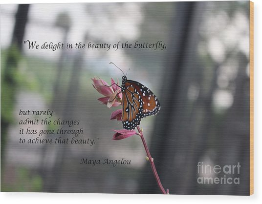 Butterfly Quote Art Print Wood Print