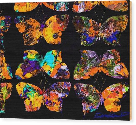 Butterfly Rows  Series 2 Wood Print by Teodoro De La Santa