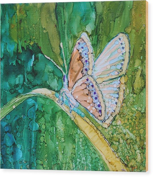 Wood Print featuring the painting Butterfly by Ruth Kamenev