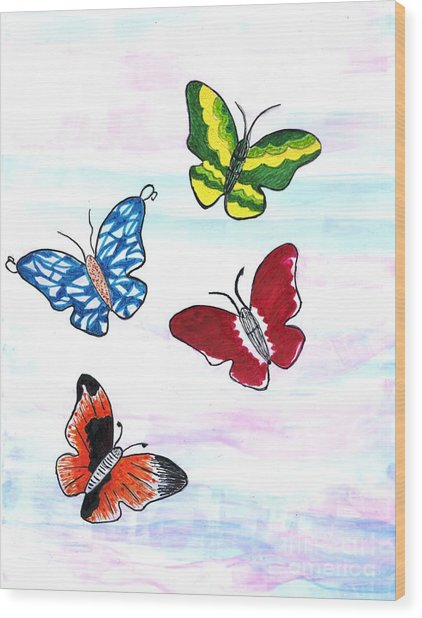 Butterfly Tag Wood Print